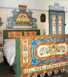 bed - Painted Tyrolean Bauern mobel furniture