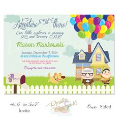 UP House Birthday Invitation-Inspired by Disney Pixar Movie - Paradise Falls, Carl & Ellie's House,- Custom Printable-5x7 or 4x6 Inches-
