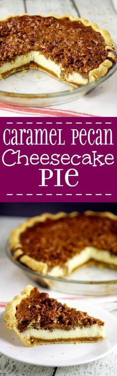 The only thing better than classic pecan pie is Pecan Cheesecake Pie with the decadent caramel flavor of pecan pie filling, crunchy pecans and creamy cheesecake. Pecan pie recipe combined with classic cheesecake to make one fantastic dessert recipe! Two of my favorites!