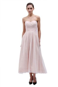 Strapless sweetheart long bridesmaid dress, A-line silhouette, blush color, chiffon fabric. Tea length long.