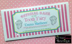 Personalized Tooth Fairy Money Envelopes, Girls, Money Gift, Children, Kids, sold per envelope on Etsy, $3.50