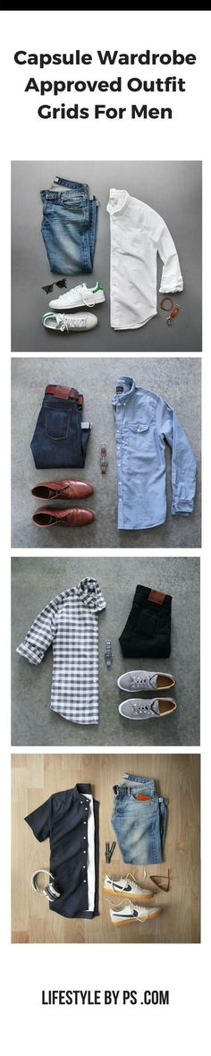 Capsule Wardrobe Outfit Grids For Men. #mens #fashion #MensFashionStyle