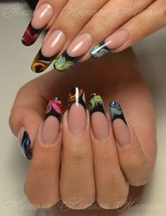 Black & colored water marble french tips <3