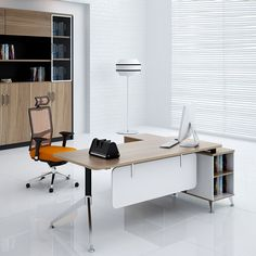 Simple office furniture made in china melamine board modern design l type office table