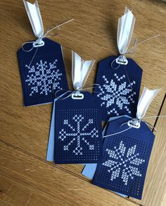 Tag tags christmas tags white cross stitch embroidery snowflakes on dark blue MFT cross stitch tag Die-namics MFT-1208  #mftstamps #crossstitch #christmas