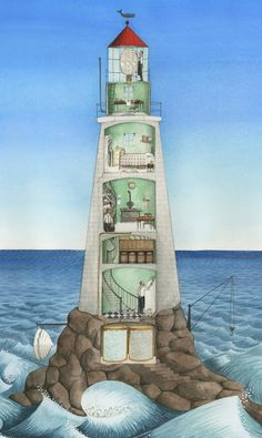 Hello Lighthouse by Sophie Blackall Lighthouse Pictures, Lighthouse Art, Lighthouse Keeper, Underground Bunker, Beacon Of Light, Nautical, Scenery, Illustration Art, Ocean