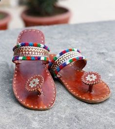 Brown Embroidered Leather Chappals @ StylinDays