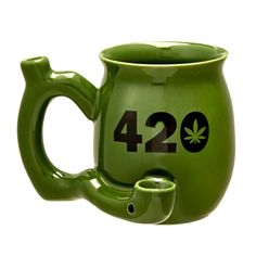 420 Mug - Green Mug with Black Our new range of 420 mugs is causing a stir! Make sure you get one for each of your friends and one for yourself. Enjoy a relaxed smoke and a coffee - the perfect way to chill out. This fun and trendy novelty mug i