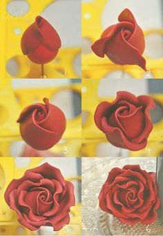 come le nuvole di lontano – come realizzare una rosa: tutorial Tutorial, this is polymer clay but the same technique works for fondant and gum paste.Tutorial, this is polymer clay but the same technique works for fondant and gum paste. Fondant Flower Tutorial, Fondant Flowers, Sugar Flowers, Paper Flowers, Fondant Figures Tutorial, Cake Tutorial, Polymer Clay Projects, Polymer Clay Creations, Gum Paste Flowers