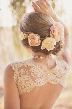 2014 New Bride Hair Style for Curve and Straight Hair Flower Crown