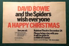 """Melody Maker magazine cites Bowie as """"THE main man of 1972"""" and Bowie dominates the issue. Bowie was voted Top Vocalist of the Year (over Rod Stewart and Elton John) while the Ziggy Stardust album is the critics choice for pop album of 1972. A two page ad states """"David Bowie and the Spiders wish everyone a Happy Christmas"""" and requests that those attending the Rainbow Concert on the 24th December bring a children's toy to be donated to charity."""