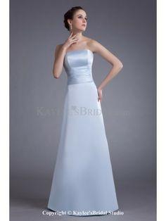 Satin Strapless Floor Length A-line Prom Dress
