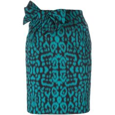 Lanvin leopard print skirt ($1,230) ❤ liked on Polyvore featuring skirts, blue, short blue skirt, high rise skirts, lanvin, blue high waisted skirt and bow skirt