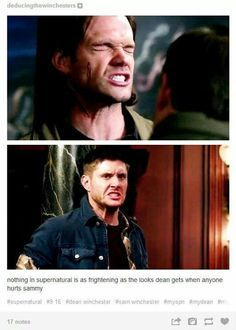 Nothing in Supernatural is as frightening as the looks Dean gets when anyone hurts Sammy /// Big brother Dean