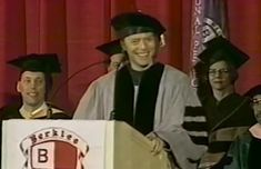 I don't know which is more enjoyable, hearing David Bowie talk about his friendship with John Lennon or watching the people in the background who were so completely unamused.  -- David Bowie - Berklee Commencement Address