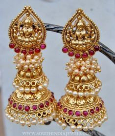 Imitation Pearl Jhumka From Orne Jewels ~ South India Jewels Gold Jhumka Earrings, Gold Earrings Designs, Gold Jewellery Design, Antique Earrings, Bridal Earrings, Necklace Designs, Hoop Earrings, Wing Earrings, Diamond Jewellery