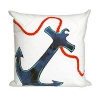 "Anchor White Outdoor Pillow-20"" x 20"""