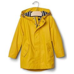 Jersey-lined raincoat ($50) ❤ liked on Polyvore featuring outerwear, coats, mac coat, rain coat, yellow rain coat, yellow raincoat and yellow coat