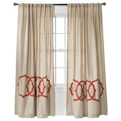 BR Curtains (qty: 4). Don't let this craptastic pic fool you--these curtains are really nice-looking and would coordinate really well with your existing bedding. Threshold™ Fretwork Border Window Panel