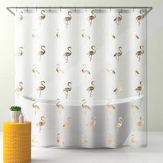 Nothing says happiness like metallic printed flamingos. This unique shower curtain is sure to make you and your family smile in your master or guest bathroom. The stylish shower curtain will add energy and brightness to any bathroom in your home. Pink Shower Curtains, Shower Liner, Yellow, Cookware, Bathrooms, Prints, Metallic, Happiness, Smile