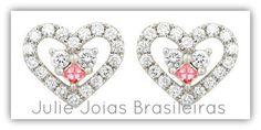 Brincos em ouro branco 750/18k, diamante e turmalina (750/18k white gold stud earrings with diamond and tourmaline)