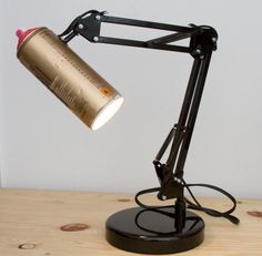 Adjustable Spray Paint Swivel Arm Architect lamp by IkuannaStudios. Some people are just so creative! Spray Paint Lamps, Painting Lamps, Graffiti Bedroom, Architect Lamp, Spray Can Art, Led Diy, Studio Lighting, Paint Cans, Fashion Room