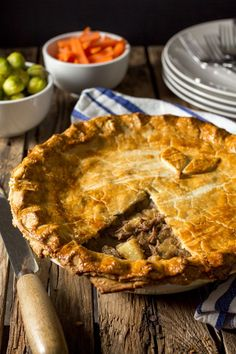 Slow Cooked Beef and Potato Pie - Shortcrust pastry filled with slow cooked beef, potatoes and gravy.