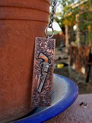 Engraved Gun Necklace ~ Wow!