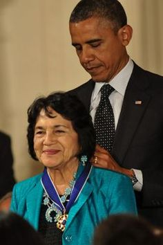 """Dolores Huerta: Receives President Medal of Freedom from Barack Obama? The Presidential Medal of Freedom stands as the highest honor a civilian can receive from the President of the United States. She is an honorary chair of the Democratic SOCIALISTS of America.Speaking at a high school in Tucson she said, """" all republicans hate hispanics."""""""