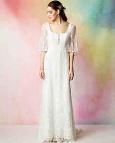 Rembo Styling Fall 2017 Wedding Dress Collection | Martha Stewart Weddings – 3/4-sleeve A-line wedding dress