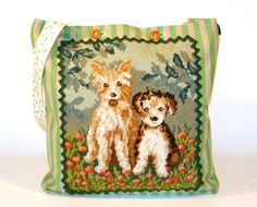 cute jeans bag for dog lovers, vintage needlepoint handcraft
