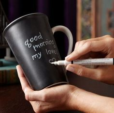 Couldn't find where to buy this specific mug, but there are tons out there if you google black board chalk mug. And I'm sure it would be super easy to make your own with a little black board paint. -MP