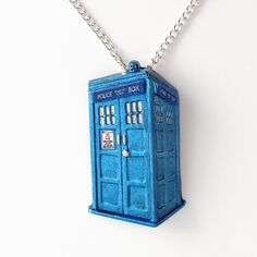 Metallic Blue Tardis Pendant and Necklace
