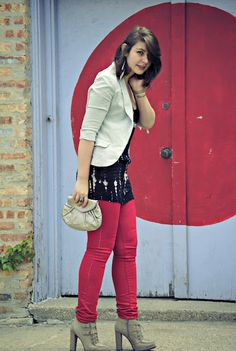 Red jeans and a silver clutch. #outfit
