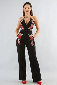 42d7281f171 Embroidery Rose Jumpsuit Black Jumpsuit