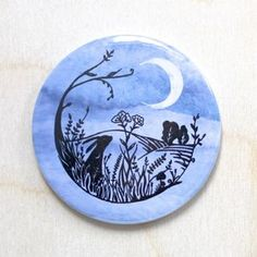 Moon Gazing Hare Pocket Mirror