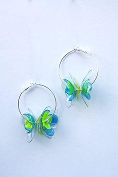 Aretes de flor en verde y azul 5cm pendientes de plata aro