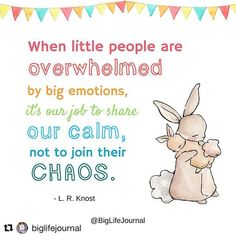 #Repost @biglifejournal with @get_repost  This is a quote that parents might like to have on a poster in every room in their home. On a postcard taped in the car. Maybe on banners in the grocery store or on signs at the park. Little people. Big Emotions. Chaos. It happens.  It can be so hard to remember to remain calm when our kids are in the middle of a rough spell and struggling with their feelings. We want to help them but we also want to make crying stop. That is normal. Parents can get…