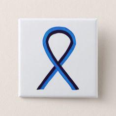 Blue And Black Ribbon Awareness Custom Pin