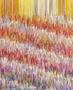 Pink Interference by Peter Combe - created from thousands of shredded Architect/Designer size household paint swatches in  ordered/random placement.