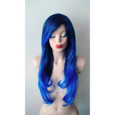 Royal Blue Ombre Wig Long Wavy Hairstyle Long Side Bangs Heat... ($130) ❤ liked on Polyvore featuring beauty products, haircare, hair styling tools, hair, wig and curly hair care
