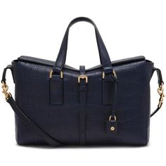 Mulberry Small Roxette Midnight Blue Croc Calfskin (£1,145) ❤ liked on Polyvore featuring bags, handbags, lightweight handbags, croco handbags, mulberry purse, crocodile purse and fold over handbag