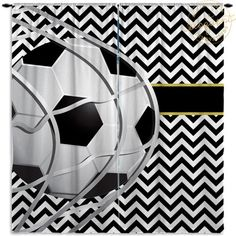 Basketball Curtains - Sports Chevron Black & White with Gold - Basketball…