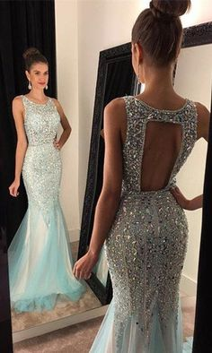 Mermaid Prom Dress Open Back Prom Dresses Cocktail Formal Wear pst1464