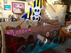 pirate ship from a large refrigerator box for a friends Granddaughters ...
