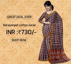 Multicolor Checkered Narayanpet Powerloom Cotton Saree & Blouse Product code: GSSGD9C035 Retail price: 811/- Sale price : 775/-