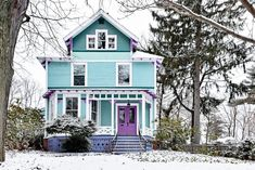 Best Door Colors for Blue House Outside House Paint, Paint Your House, Best Front Door Colors, Best Front Doors, Yellow House Exterior, House Paint Exterior, Exterior Design, Purple Door, Yellow Doors