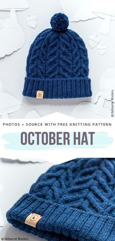 October Hat Free Knitting Pattern Work this beautiful hat in a round starting from the ribbing. Modern cables will give you a stylish look and they will surely feel soft and cozy. Finish it with a pom pom to add it a bit more fun. Beanie Knitting Patterns Free, Free Knitting, Crochet Patterns, Stitch Patterns, Beanie Pattern Free, Kids Knitting, Sock Knitting, Shawl Patterns, Knitting Machine
