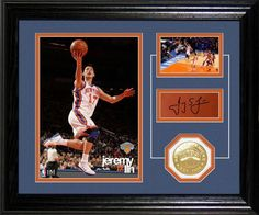 "Limited Edition 10""x12"" frame with an easel back and double matting features two photos of Jeremy Lin in action as well as, his facsimile (replica) signature engraved in a nameplate and a Bronze 39mm Team Commemorative Coin. A numbered COA is pasted to the back of each frame. LE 2500 and Officially Licensed by the NBA. Proudly made in the U.S.A.! Officially licensed NBA product."