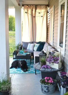 a farmhouse country boho porch makeover, home decor, outdoor living, porches Outdoor Curtains, Outdoor Rooms, Outdoor Cushions, Outdoor Decor, Outdoor Balcony, Outdoor Living, Front Porch Curtains, Outdoor Sectional, French Decor